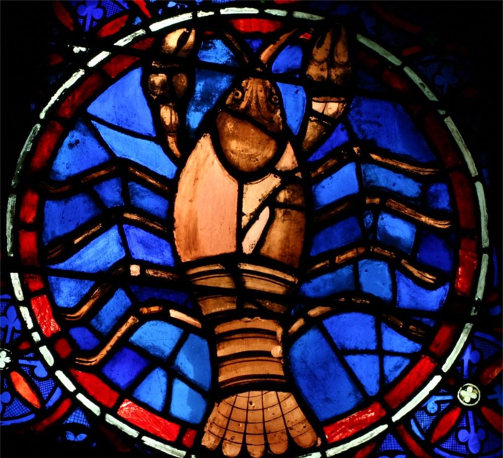 Cathédrale Notre Dame de Paris, signe du zodiaque du cancer, vitrail de la rosace ouest
