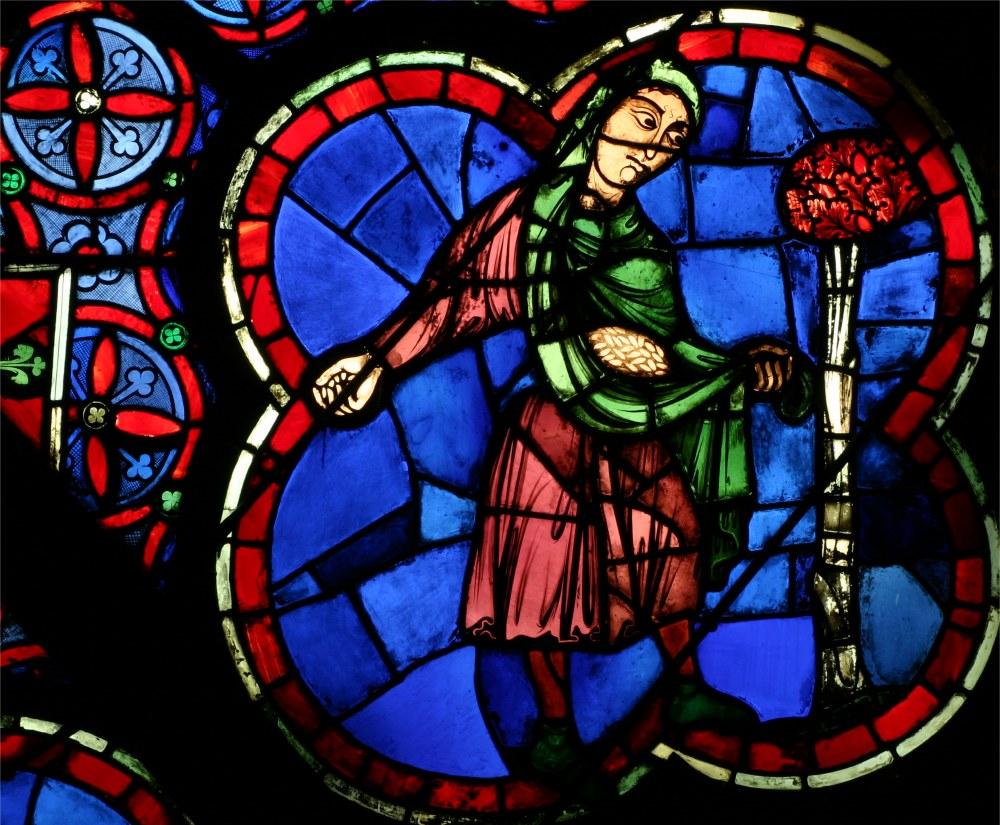Cathédrale notre dame de paris, vitrail rosace ouest des semailles